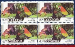 Ref. MX-2265Q MEXICO 2002 ANIMALS & FAUNA, CONSERVATION - TROPICAL, FOREST, BIRDS, PARROT, TOAD, BLOCK MNH 4V Sc# 22