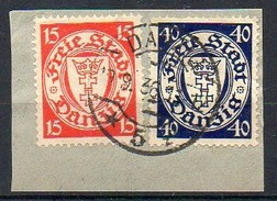 Freie Stadt Danzig  1925-1938 MiNr. 214, 248  O/ Used  Briefstück/ Piece ;  Wappen
