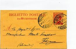 BIGLIETTO POSTALE - 60 Centesimi - VIAGGIATA - Postcards