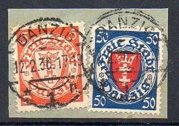 Freie Stadt Danzig  1924-1938 MiNr. 193, 200  O/ Used  Briefstück/ Piece ;  Wappen