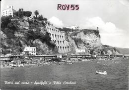 Campania-salerno-vietri Sul Mare Villa Catalani Veduta Da Mare Villa Spiaggia Affollata Animatissima Anni 50/60 - Italia