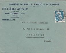 Enveloppe Commerciale 1948  / Les Frères GRENIER / Fabrique Pipes & Articles Fumeurs / 39 Saint Claude / Jura - Cartes