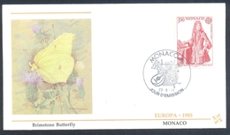 Monaco 1985 Cover: EUROPA CEPT Music Lully: Fauna Butterfly Schmetterling Mariposa; Papillon; Brimstone Butterfly - Schmetterlinge