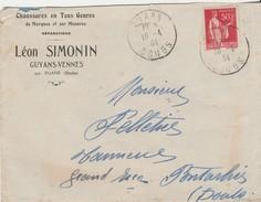 Enveloppe Commerciale 1934  / Léon SIMONIN / Chaussures / Guyans Vennes / Cachet De Fuans / 25 Doubs - Altri