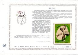 """FRANCE 1980 : Feuillet  DAP 1° Jour CERES En Soie RARE (4600 Ex) """" LE GOLF """" N° YT 2105. Parfait état"""