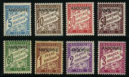 ANDORRE FRANCAIS - YT Taxe 1 à 8 **/* - SERIE COMPLETE 8 TIMBRES NEUFS **/*