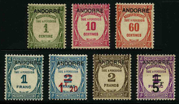 ANDORRE FRANCAIS - YT Taxe 9 à 15 **/* - SERIE COMPLETE 7 TIMBRES NEUFS **/*
