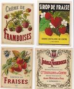 Lot De 4 Superbes étiquettes Anciennes FRAISE FRAMBOISE Liqueur Et Sirop De Fruits - Litho Chromo Début XXème - Fruits Et Légumes