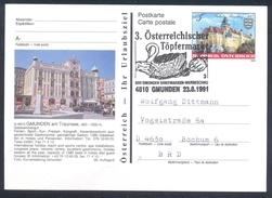 Austria 1991 Postal Stationery Card GMUNDEN; Castle Schloss Rosenburg; Bats Architecture Fauna Swan Schwan Töpfermarkt