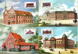 """(M) DDR 4 Amtl. Maximumkarten Mi-Nr. 3067/70 ESSt. Berlin  3.2.87 """"Historische Postgebäude"""""""