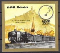 NORTH KOREA, Sheetlet TRAIN / LOCOMOTIVE, Expo Essen 84 - Corée Du Nord