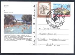 Austria 1992 Postal Stationery Card LUSTENAU; Castle Schloss Rosenburg; Bats Architecture Rhein / Rhine Regulation; Swim