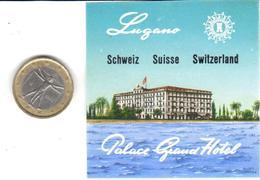 ETIQUETA DE HOTEL  -PALACE GRAND HOTEL  -LUGANO -SUIZA (SUISSE)  ( CON CHARNELA ) - Hotel Labels