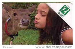 Nouvelle Caledonie Telecarte Phonecard Prepaid Prepayee IZI 3000 F Enfant Cerf Faon Animal  Ut. Coin Froisse - Nouvelle-Calédonie