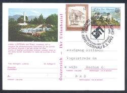 Austria 1992 Postal Stationery Card LUSTENAU; Castle Schloss Grein; Bats Architecture Rhein / Rhine Regulation; Swim