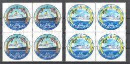 PITCAIRN, CRUISE SHIPS, FULL SET 2001, ALL ROUND STAMPS IN NEVER HINGED BLOCKS OF 4! - Timbres