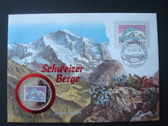 SWITZERLAND COVER W/h COIN UGANDA 1000 Sh 1996 / ALPINISM MOUNTAIN JUNGFRAUJOCH FLOWERS NUMISMATIC WORLD FAMOUS PLACES