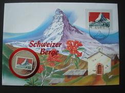 SWITZERLAND COVER W/h COIN UGANDA 1000 Sh 1996 / ALPINISM MOUNTAIN MATTERHORN FLOWERS NUMISMATIC WORLD FAMOUS PLACES
