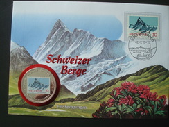 SWITZERLAND COVER W/h COIN UGANDA 1000 Sh 1996 / ALPINISM MOUNTAIN FINSTERAARHORN FLOWERS NUMISMATIC WORLD FAMOUS PLACES