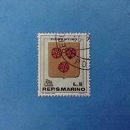1968 SAN MARINO FRANCOBOLLO USATO STAMP USED - STEMMI 5 Lire - - Used Stamps