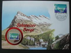 SWITZERLAND COVER W/h COIN UGANDA 1000 Sh 1998 / ALPINISM MOUNTAIN SAN BERNARDINO NUMISMATIC WORLD FAMOUS PLACES