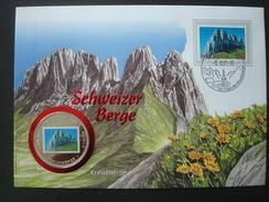SWITZERLAND COVER W/h COIN UGANDA 1000 Sh 1996 / ALPINISM MOUNTAIN KREUZBERGE NUMISMATIC WORLD FAMOUS PLACES