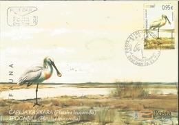 CG 2017-03 BIRDS SPOONBILL, CRNA GORA MONTENEGRO, FDC