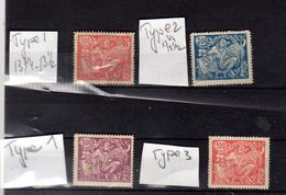 1933 Allégorie   Y 185 186 187 *  Po 173  Type 1 +3  +174 Type 2 +175 Type 1  Cote Yvert 36€
