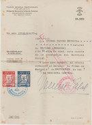 Falange Espanola Tradicionalista Yde Las J.O.N.S. 2 Tmbres Fiscaux Servicio Social 1957 Saludo A Franco Arriba Espana - Revenue Stamps