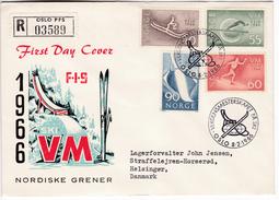 922 Norway Championnat Du Monde De SKI 1966 Oslo World Ski Championships Registered FDC To Hungary