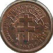 AFRIQUE EQUATORIALE FRANCAISE 1 FRANC BIRD FRONT & EMBLEM BACK 1943 UNC KM2a READ DESCRIPTION CAREFULLY !!! - Monnaies