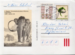 Hungary Used Postal Stationery Card With Prehistoric Animals