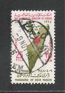GIORDANIA - 1965 - Valore Usato Da 25 Fi. - 17° Anniv. Del MASSACRO DI DEIR YASSIN - In Buone Condizioni. - Giordania