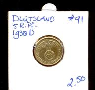 GERMANY * 5 REICHS PFENNIG 1938 D * KM# 91 - [ 4] 1933-1945 : Third Reich