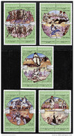 Libya, Scott #848-52 National Sport Games Sportarten Polo Wrestlin 1980 ,Set 5 X Blocks Of 4 Stamps, MNH,Mint