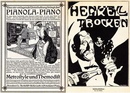 Original-Werbung/Anzeige 1908 - CHORALION PIANOLA - BERLIN / RÜCKSEITE HENKELL TROCKEN SEKT - Je Ca. 180 X 240 Mm