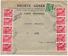 Mercure 5c X10 + 50c Sur Lettre De 1941 - Marcophilie (Lettres)