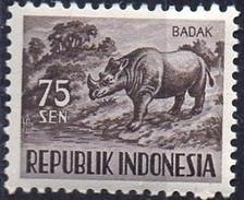 PIA - INDONESIA - 1956-58 : Fauna : Rinoceronte  - (Yv  125)