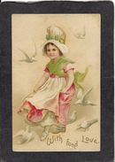 """Pretty Young Lady In Red Dress Surrounded By 6 Valentines Doves""""With Fond Love""""1910 - Ellen Clapsaddle Antique Postcard - Clapsaddle"""