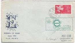 ITALIA SAN REMO 1962 MUESTRA DE FILATELIA Y FLORES FLOWER