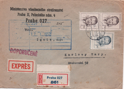 "Czechoslovakia 1952, Praha 027.  Registered ""Express"" Letter, To Karlovy Vary - Interesting"