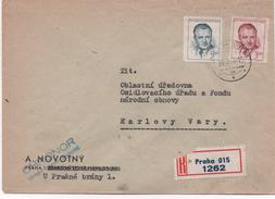 Czechoslovakia 1949, Praha,.Registered  Letter, To Karlovy Vary - Interesting