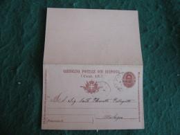 Regno Italia C. 15 Cartollina  Postale Con  Risposta      - 1900  ANNULLO PONTE IN VALTELLINA   -  155