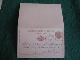 Regno Italia C. 15 Cartollina  Postale Con  Risposta      - 1902  ANNULLO SONDRIO  -  156