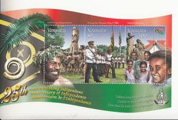 2005 Vanuatu 25 Years Independence Flag Military Costumes Miniature Sheet Of 3   MNH