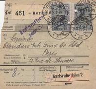 DR INFLA 1921 PAKETKARTE  BERLIN  SW       PARIS  Mif  86,40DM   PK10 - Germany