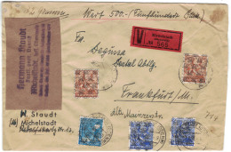 1948, Wertbrief über 500,- DM Mit Netzfrankatur, Eine Marke Mit Einriss Aufgeklebt, Ab MICHELSATDT (ODENWALD) Nach Frank - Zone Anglo-Américaine