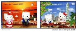 Taiwan 2004 Hello Kitty Stamps S/s Cartoon Sunset Oval Wharf Bird Taipei 101 Coffee