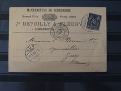 France - N°103 Sur Carte Manufacture De Serrurerie De Friville Escarbottin - Somme à Destination De Zug - Suisse