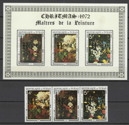 Chad - Tchad 1972 Paintings Rubens, Christmas Set Of 3 + S/s With Golden Overprint MNH -scarce-